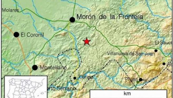 Localización del epicentro, al sur del municipio sevillano de Morón de la Frontera.