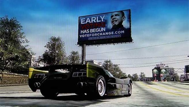 Valla publicitaria de Obama en 'Burnout Paradise'.