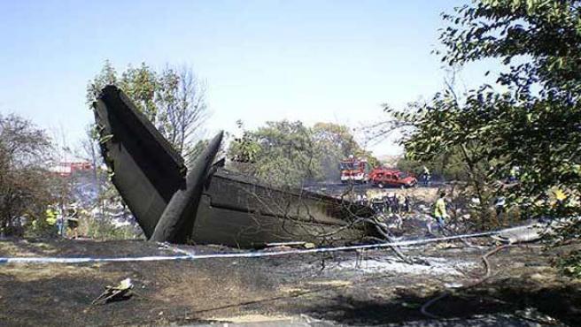 Avión de Spanair siniestrado en Barajas. (ARCHIVO)