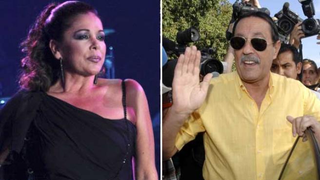 Isabel Pantoja, durante uno de sus últimos conciertos, y Julián Muñoz al salir de la cárcel (KORPA).