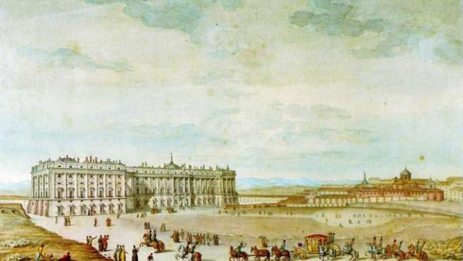 La plaza de Oriente, en un dibujo de 1820. (MUSEO DE HISTORIA DE MADRID)