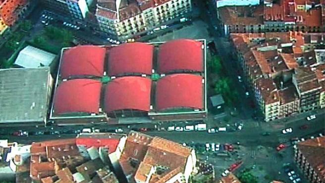 Vista aérea de la plaza de la Cebada tal y como está en la actualidad (MUNIMADRID)