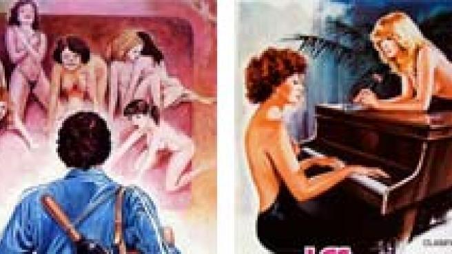 Carteles de 'Viciosas al desnudo', 'El fontanero, su mujer... y otras cosas de meter', 'Las alumnas de Madame Olga', y 'No me toques el pito que me irrito'.