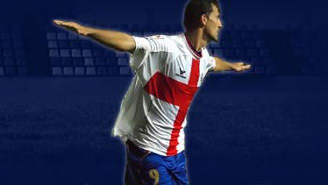 Un jugador con la camiseta de la UD Huesca.