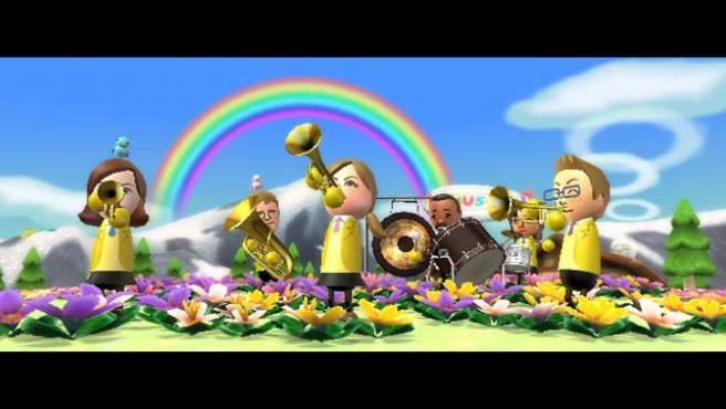 En 'Wii Music' los instrumentos se tocan imitando los movimientos correspondientes con el mando de la Wii.