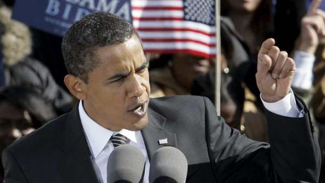 Barack Obama, durante un mitin en Raleigh (AP Photo/Gerry Broome).