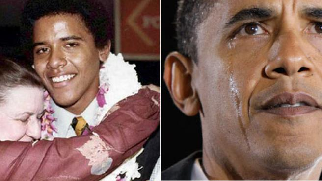 A la izq. Madelyn Dunham abraza a Obama el día de su graduación en Hawai, en 1979. A la dcha., Obama llora al hablar de su abuela en un mitin, ayer, en Carolina del Norte (EFE - A. Brandon/AP)