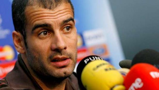 El entrenador del Barça Pep Guardiola durante la rueda de prensa.