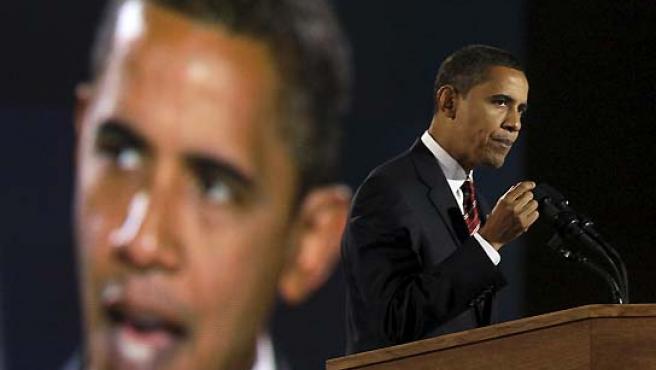 Barack Obama, durante su discurso en la noche electoral. (David Guttenfelder / AP).