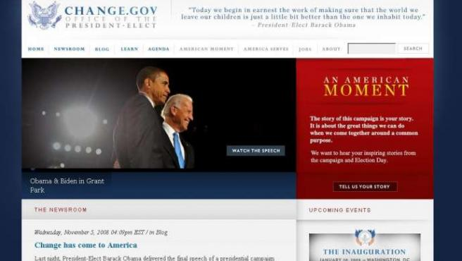 Imagen de Change.gov, la oficina virutal del nuevo presidente electo de los EE UU, Barack Obama