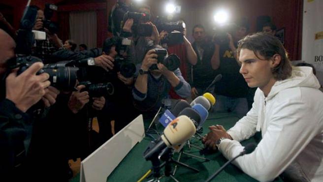 Rafa Nadal, ante los medios de comunicación. (EFE)