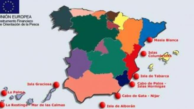Reservas marinas en España. MINISTERIO DE MEDIO AMBIENTE.