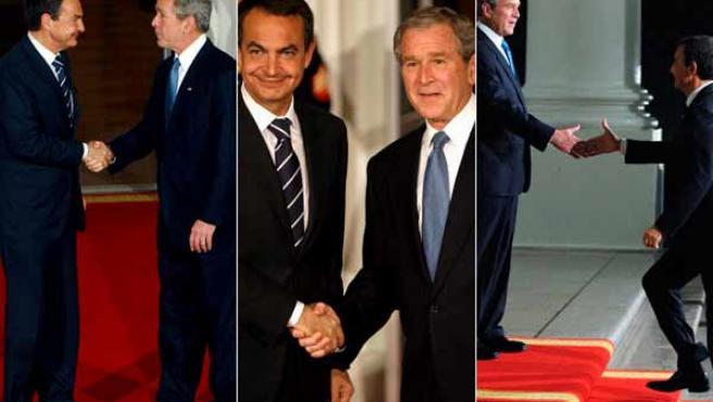 Bush y Zapatero se saludan a la llegada de éste a la Casa Blanca. (AGENCIAS)