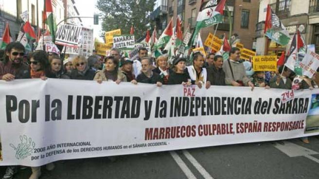 Cabeza de la marcha que ha transcurrido por Madrid (FOTO: EFE)