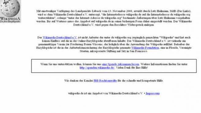 Esto es lo que se ve si intentas abrir hoy la wikipedia alemana.
