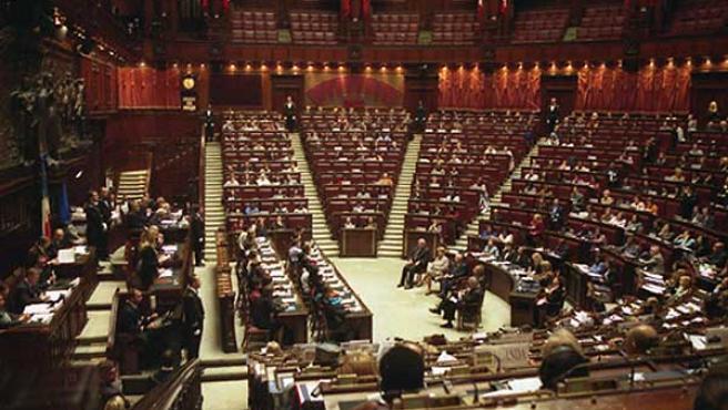 Salón de la Cámara de diputados del Congreso italiano.