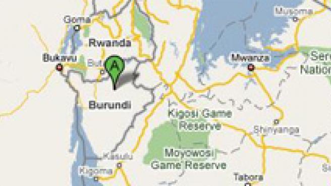 Burundi, en África Oriental (GOOGLE MAPS)