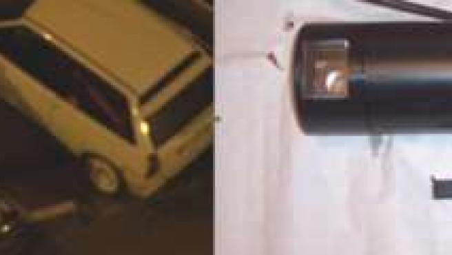 La cámara estaba en el interior del vehículo negro de la fotografía.