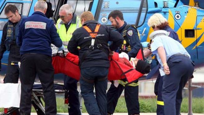 Mark Webber, trasladado al hospital en helicóptero. (EFE)