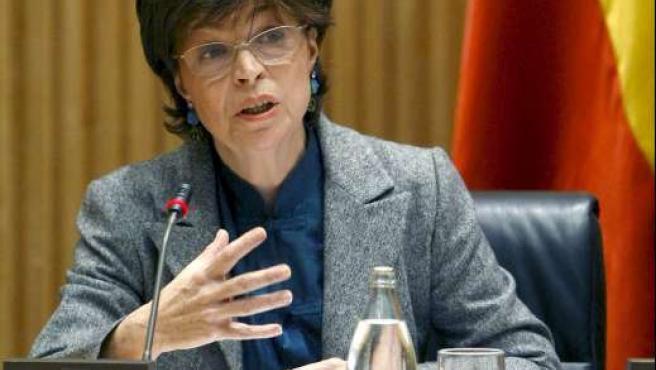 La presidenta del Consejo de Seguridad Nuclear, Carmen Martínez Ten, durante su comparecencia en la Comisión de Industria. EFE/F.A