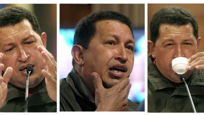 El presidente de Venezuela, Hugo Chávez, durante una rueda de prensa (EFE)