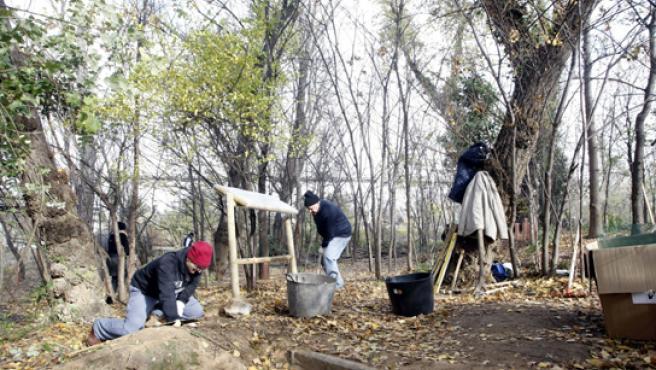 Dos voluntarios trabajan en la recuperación de un islote del Pisuerga.