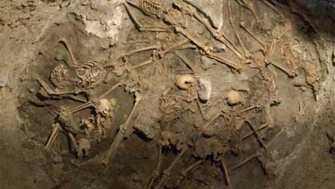 Primera imagen de los restos humanos hallados en la excavación del Llano de Las Brujas, en Arucas. Se cree que corresponden a represaliados en la guerra civil.
