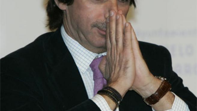 José María Aznar, durante el acto en Pozuelo de Alarcón (Madrid)