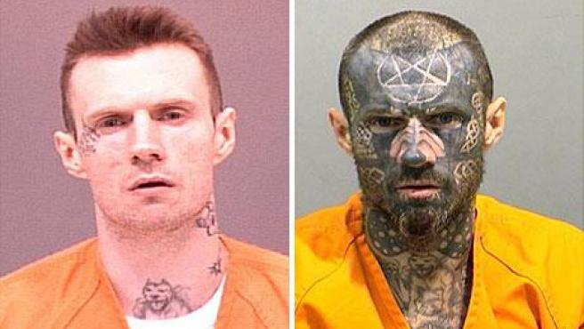 Michael Campbell, antes y después de los tatuajes. (DAILY TELEGRAPH)