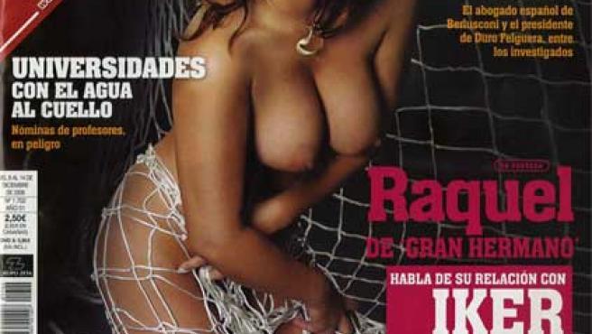 Raquel Gómez posa en la portada de 'Interviú'.
