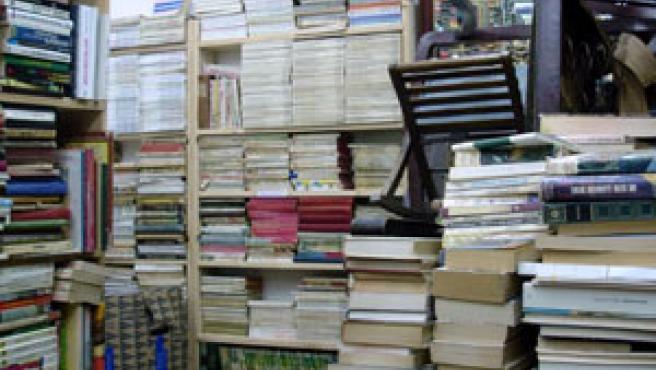Montañas de libros y alguna antigüedad, el paisaje en la librería 'Ábaco'. (N.S.)