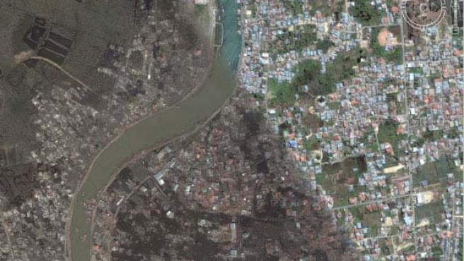 En la imagen se puede ver los efectos destructivos del tsunami de 2004 en Banda Aceh.(ARCHIVO).