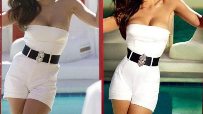 Jessica Alba antes (izquierda) y después de ser retocada con Photoshop en el pecho, las rodillas y la cintura.