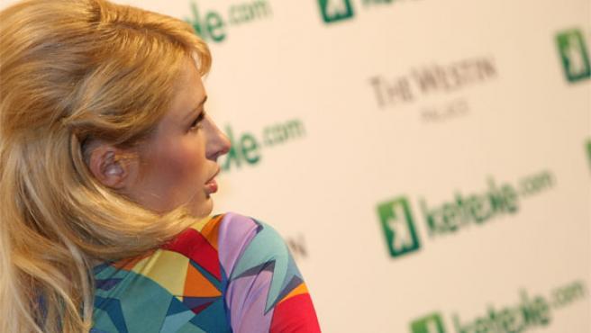 Paris Hilton durante el photocall en Madrid (Foto: JORGE PARÍS)