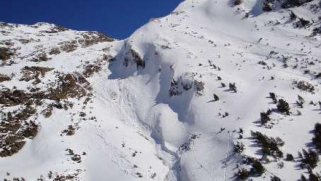 Imagen de la zona donde se produjo el alud. (SUBDELEGACIÓN DEL GOBIERNO EN HUESCA)