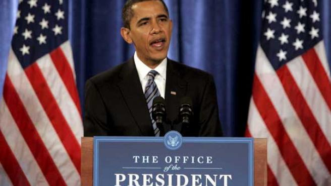 El presidente electo estadounidense, Barack Obama, durante una rueda de prensa celebrada en Chicago, Illinois. (EFE)