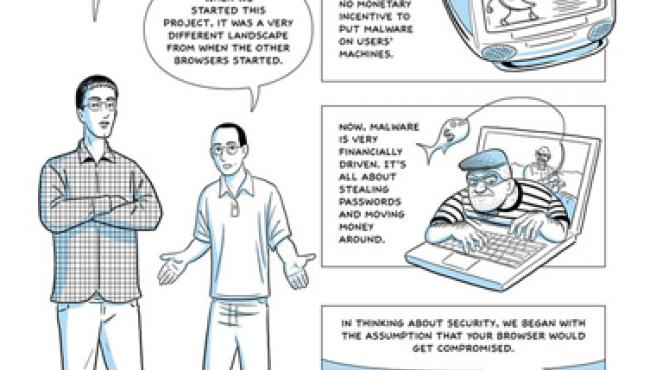 Comic en el que Google explica como funcionan los sistemas de seguridad de su navegador de internet