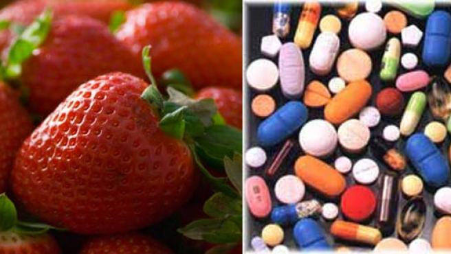 Fresas y pastillas.