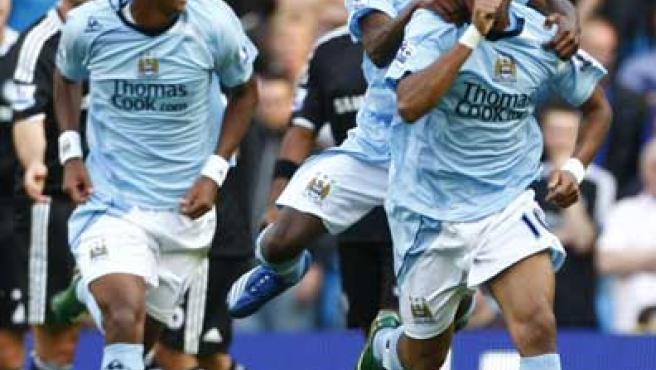 Robinho, en su debut con el Manchester City.