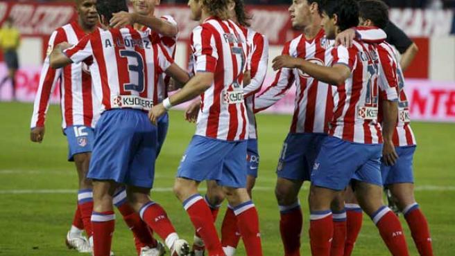 El Atlético de Madrid celebra la victoria frente al Mallorca. (ARCHIVO)