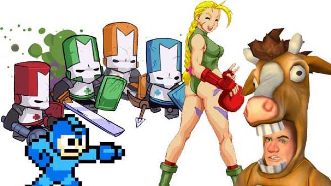 Los cuatro héroes de 'Castle Crashers', el robot azul Mega Man, la luchadora de 'Street Fighter' Cammy y un personaje de 'Pain'.