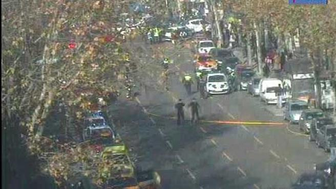 Imagen de las cámaras de tráfico del Ayuntamiento del corte de tráfico en la calle Serrano de Madrid.