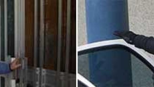Herminia Buceta, la ex mujer de Maximino Couto, al que se le ve, en una foto de archivo, saliendo de los juzgados custodiado por un policía. (ABC / M. MUÑIZ)