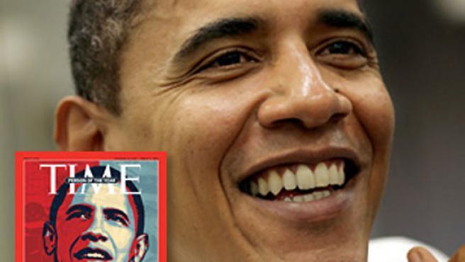 Obama y su portada como hombre del año en 'Time'. Foto: Time