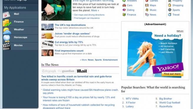 Servicios sociales personalizados y contenidos editoriales de fuentes externas, en la nueva home de Yahoo.