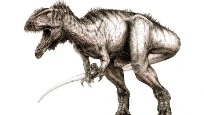 Dibujo de un dinosaurio que vivió en el desierto del Sáhara (EFE).