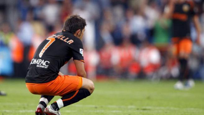 Villa, desolado tras caer en la Supercopa ante el Madrid. (EFE)
