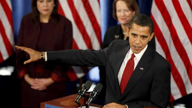 Barack Obama, durante una rueda de prensa en Chicago. ARCHIVO