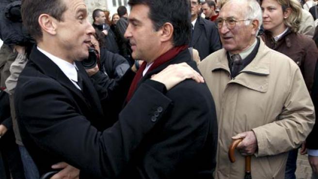 El presidente del FC Barcelona, Joan Laporta (c), en una imagen de archivo.
