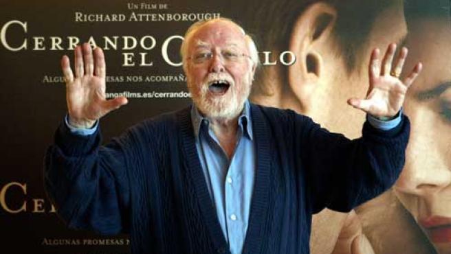 Richard Attenborough en la presentación de una película en Madrid.